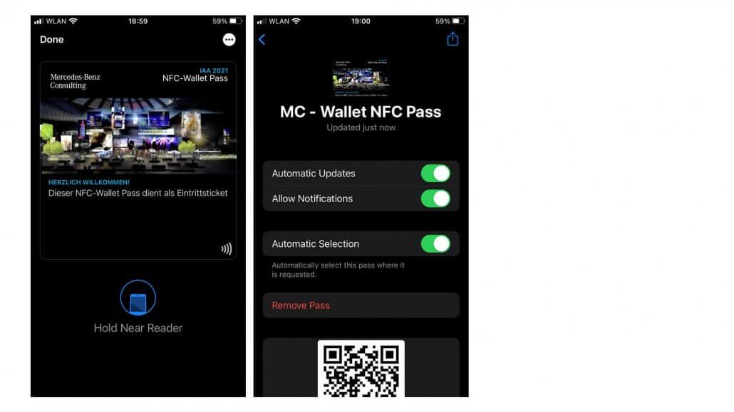 Mobile Ansicht Wallet NFC